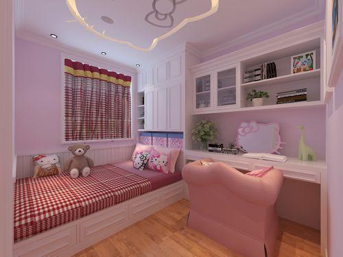 世茂翡翠首府82平米两室一厅现代简约风格装修效果图——粉红色儿童房