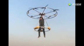 民间牛人自制载人飞行器, 成功试飞图片