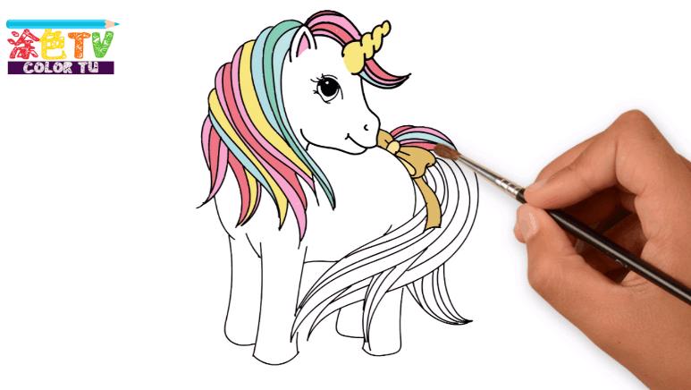 画可爱的独角兽 小马宝莉 亲子互动益智 打开 北美玩具 小马宝莉 彩虹