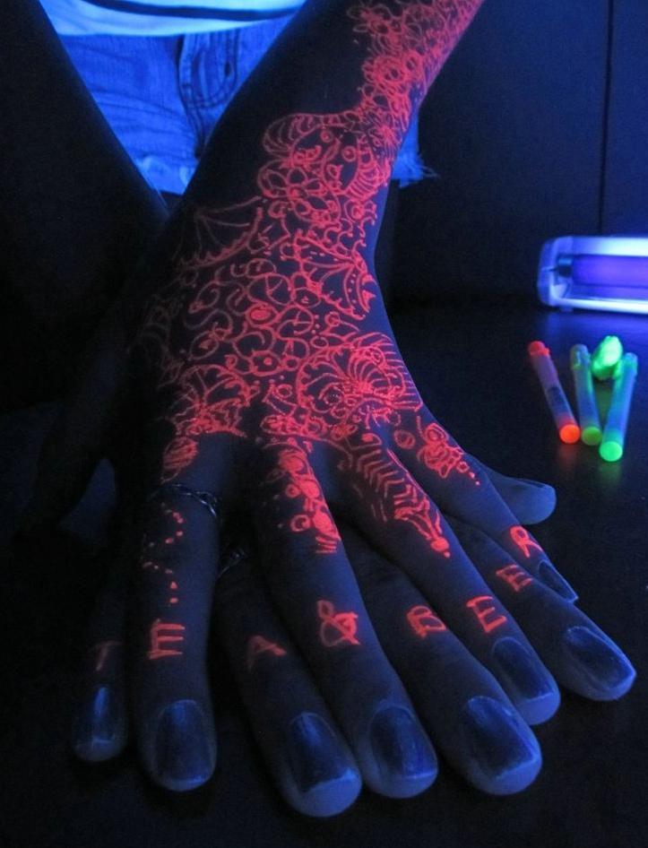 今年最流行的荧光隐形纹身