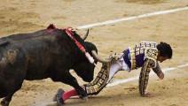 西班牙: 遭公牛狠揍的斗牛士,被戳断肋骨痛苦万分的表情!