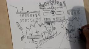 石河子大学标志性建筑手绘