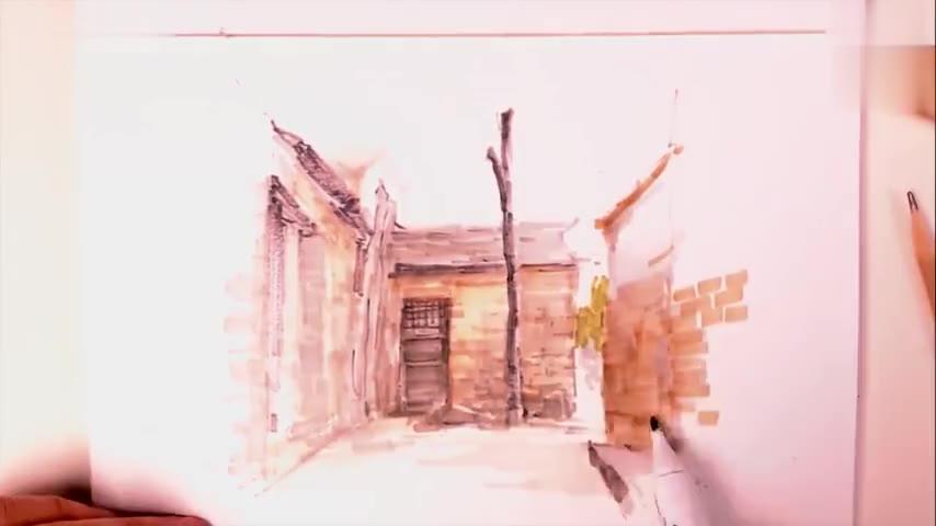 素描 建筑画风景画用钢笔 马克笔