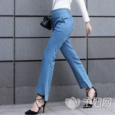 前短后长半身裙_裤脚前短后长设计的牛仔裤更显高挑