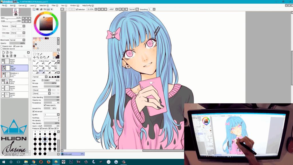 sai软件手绘板绘画上色教学 打开 二次元画师都用它 手机端的ps软件