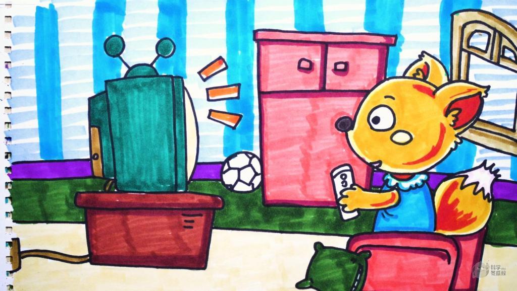 打开 神笔简笔画 中外童话故事 小狐狸看电视,儿童成人绘画马克笔教程