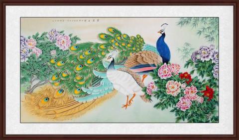 家居装饰画王一容工笔画孔雀牡丹图《富贵呈祥》作品出自:易从网