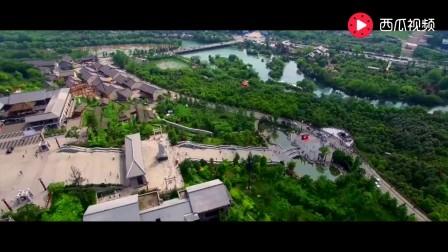 航拍贵州贵阳孔学堂, 背倚大将山, 俯瞰花溪河! 大气之汉唐风!
