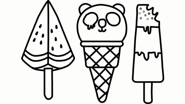 幼儿亲子早教学画,教孩子简笔画彩虹色冰棒,西瓜冰棒,小熊甜筒