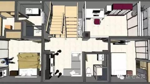 农村自建房6米x12米 2层半带车库露台 3d设计图