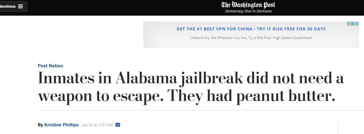 """还可这样操作? 美12名囚犯花生酱""""作画"""", 然后越狱了..."""