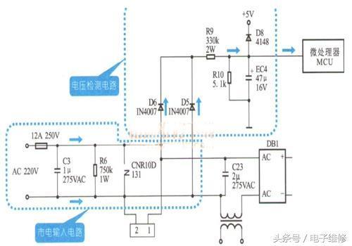 同样经过整流滤波进入三端稳压器78l05输出5v,以供mcu和显示电路使用.