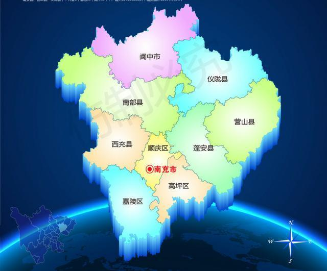 省下辖的地级市,管辖3个区(顺庆区,高坪区,嘉陵区),5个县(西充县,营山