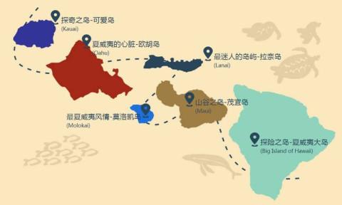 夏威夷大岛景点地图