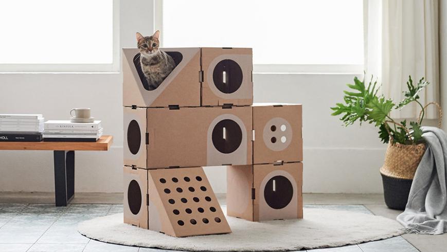 打开 打开 专为猫咪设计的纸箱别墅,能自由组合,趁春节给猫换个窝 打