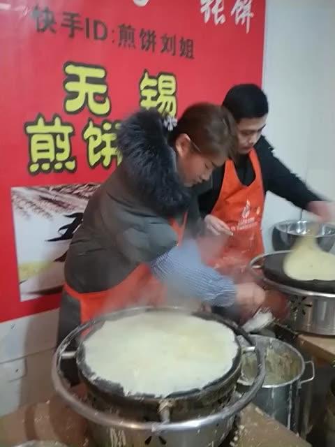 这位女学员,下午刚到,摊了十个饼不到就这么6#煎饼刘姐团队