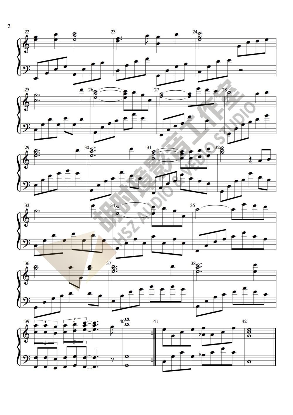 张惠妹《听海》纯伴奏钢琴谱-胡时璋影音工作室出品