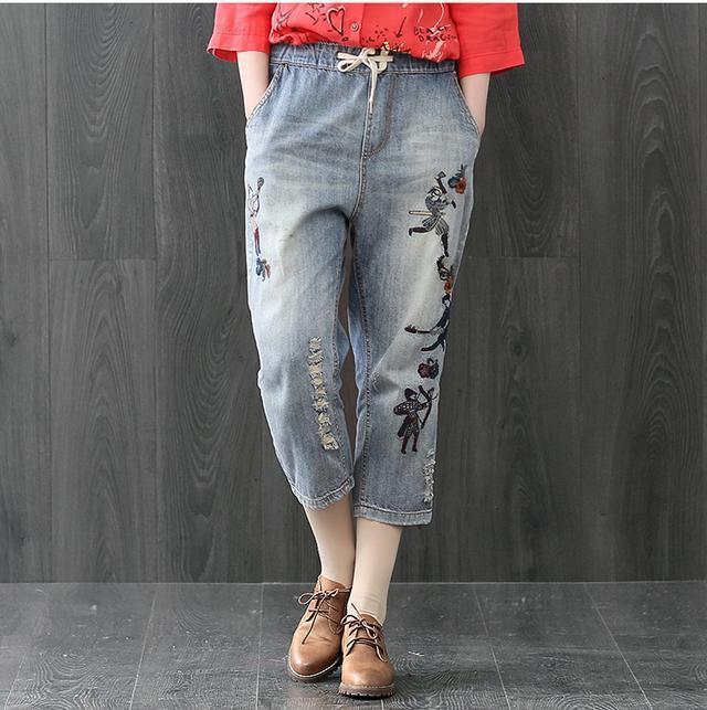 棉麻T恤+牛仔哈伦裤, 50岁的妈妈买了两套, 时尚也更年轻了 4