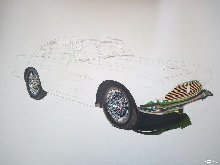 下我画的这辆1961款马丁db4的绘画步骤吧 我的绘画主要工具:马克笔