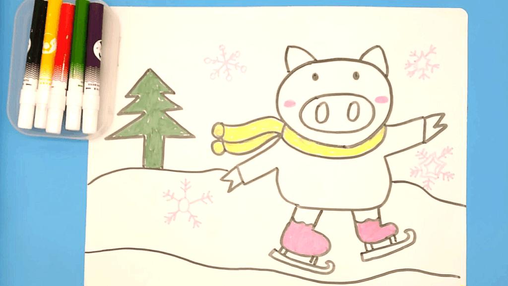儿童学画画亲子互动涂鸦卡通画简笔画教程 打开 牛人用数字4画人物,教
