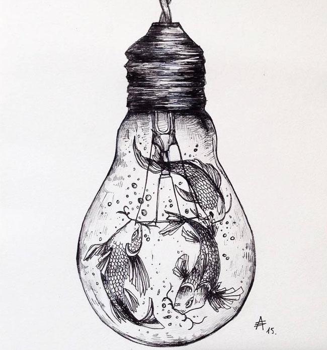 超现实风格黑白手绘插画艺术