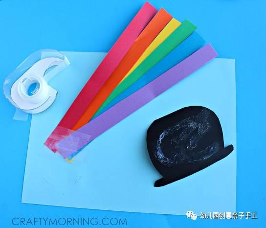面彩虹   有纸团画、有剪贴画的平面彩虹   较为适合小班操作   纸链彩虹