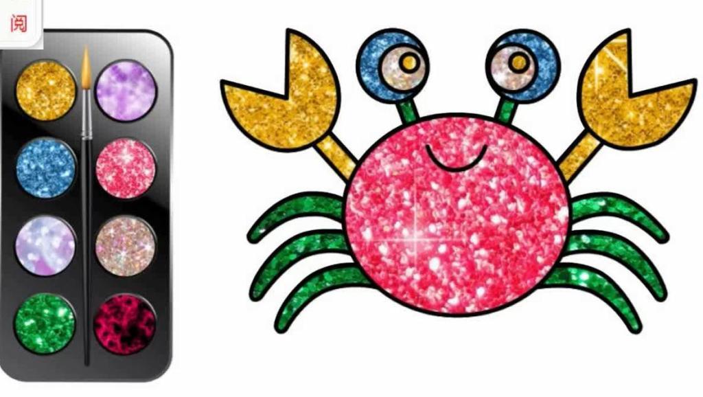 色彩绘画小螃蟹色彩英语儿童英语abc少儿英语abc 打开 字母英语小动物