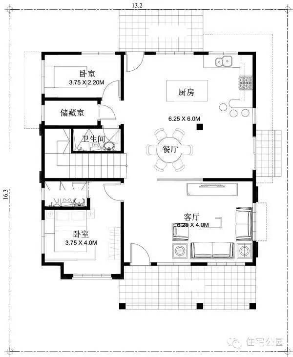 新农村最佳2层自建房别墅户型 地基13米x16米 含平面图纸