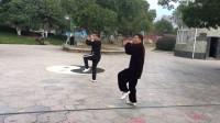 杨乃景和章圣璋于2018年元月15日在公园晨练42式太极拳