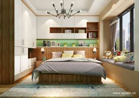 l型的储物区设计,床头嵌入柜和衣柜拼接,使卧室空间得到最大化利用.