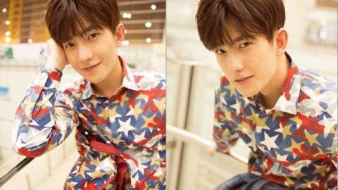 吕珍九这一白底花衬衫,属于小清新风格,十足的花美男一枚.