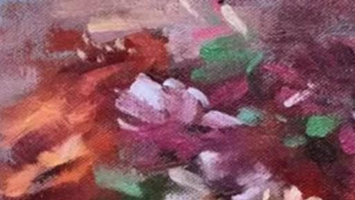 美术老师教学示范油画临摹花卉的画法