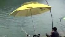 钓鱼: 男子野外钓鱼,鱼竿断了直接下水将大鱼拉上岸