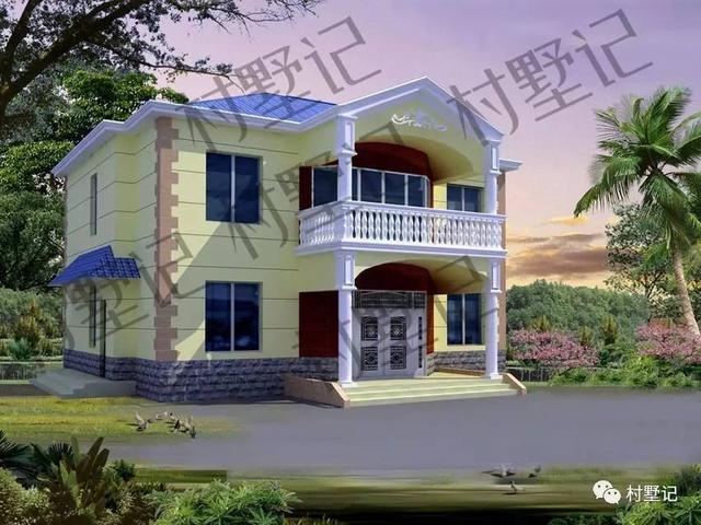 这套二层农村小别墅,从整体造型上看,屋顶采用坡顶,加上阳台,罗马柱