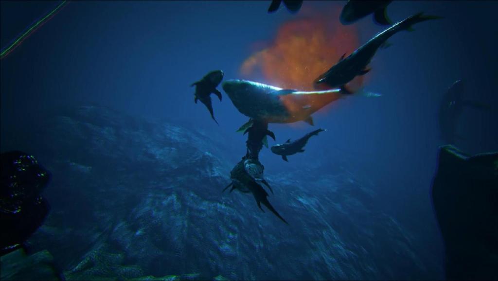 邓氏鱼大战深海巨齿鲨boss,乐豆体验之方舟生存进化