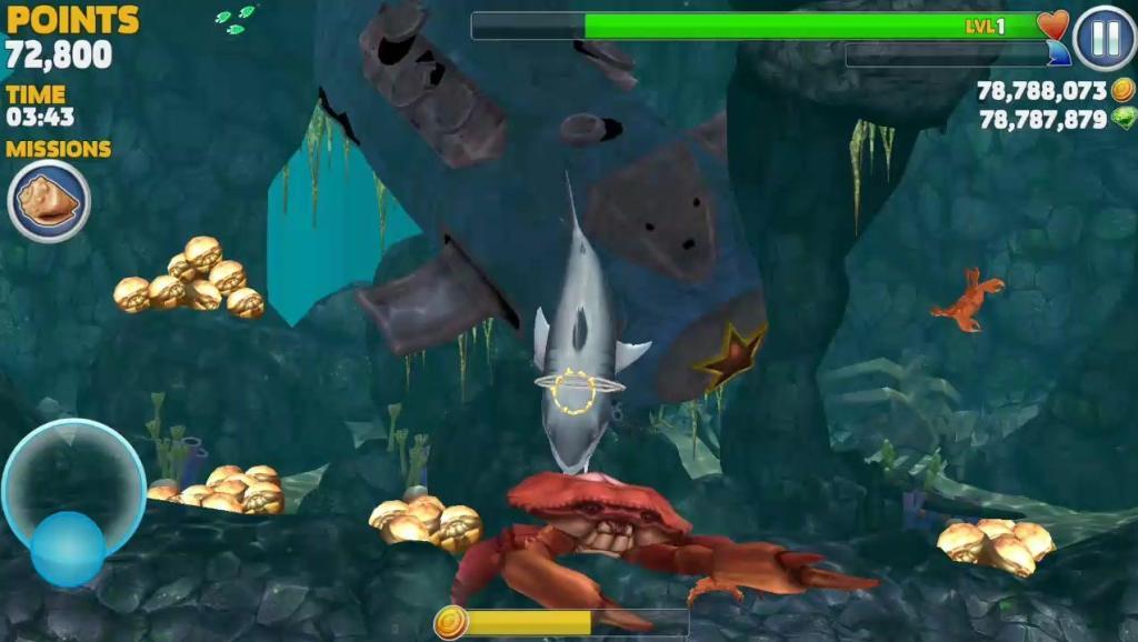 饥饿鲨进化: 进化后的巨齿鲨会很恐怖吗,打起大螃蟹来会怎样?