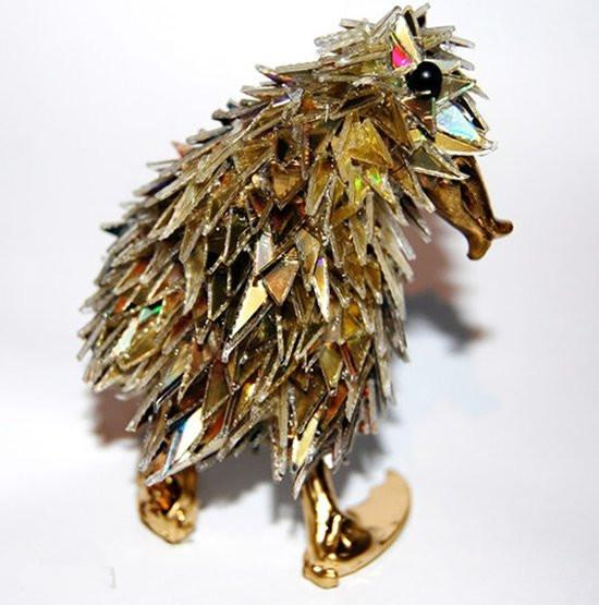 手工diy: 光盘变废为宝制作动物 精美cd光盘动物diy