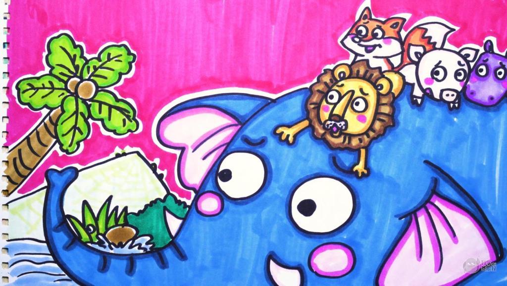 各种换装 打开 神笔简笔画 中外童话故事 咕咚来了,儿童绘画马克笔图片