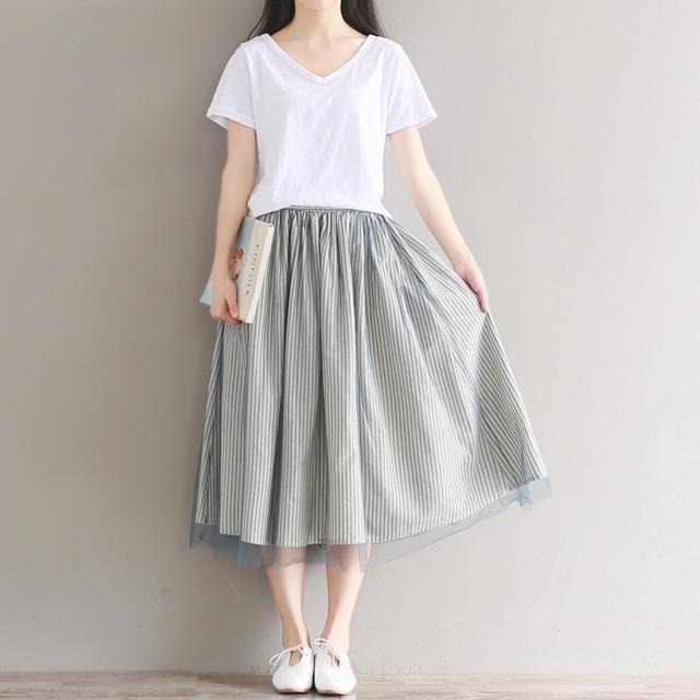 棉麻半身裙_20岁的小女生, 不妨试试这8款文艺棉麻裙, 清新利落