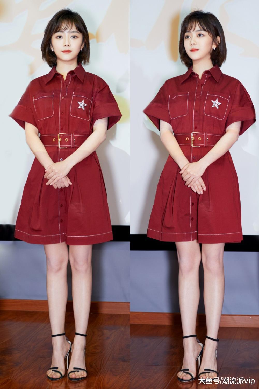 总说29岁谭松韵像少女, 换上衬衫配格纹开叉长裙, 秒变知性女神
