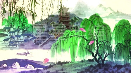 打开 vj214 古典中国风水墨画江南水乡舞台led背景视频素材 打开 good