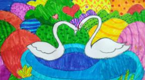 飞童亿佳儿童绘画学生作品赏析: 田鹏-水彩笔画《白天鹅》图片
