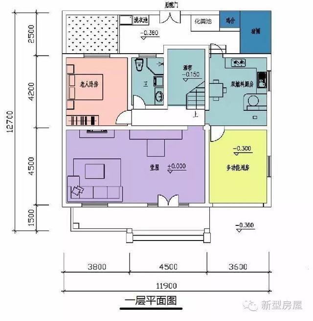 乡村二间三层有堂屋房子设计图展示