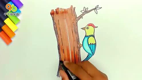 简笔画啄木鸟的画法