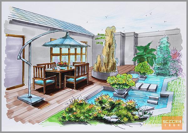 手绘设计案例, 唐山遵化自建别墅800平米欧式风格装修