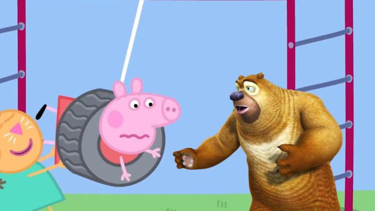 熊出没 小猪佩奇荡秋千时卡住了,熊二赶紧来帮忙 简笔画