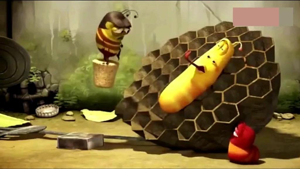 爆笑虫子,小黄小红偷蜂蜜吃,看蜜蜂怎么惩罚它俩,太搞笑了