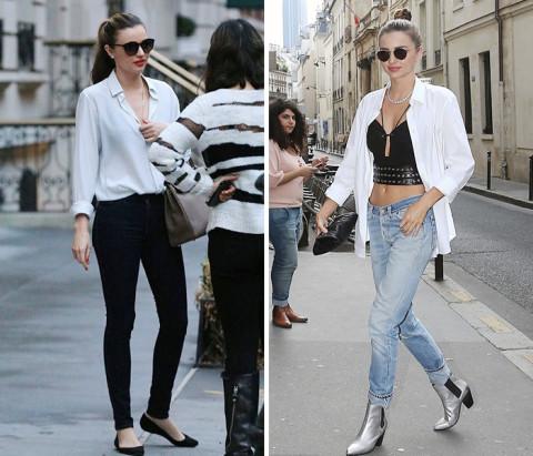 miranda kerr的白衬衫造型有一种轻熟女的性感,雪纺的材质和微开的