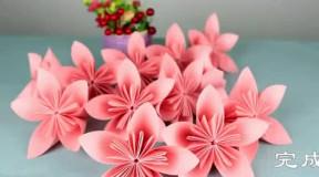 手把手教你折纸樱花, 简单几步就能搞定, 美丽又浪漫还能拼个花球噢