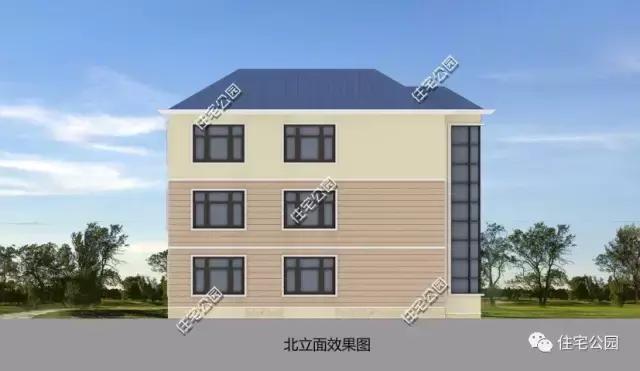 农村欧式别墅15x12米, 堂屋客厅,双厨房餐厅